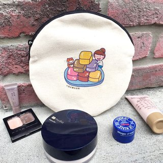 芋仔冰猫の daily canvas round bag (cosmetic bag) hand-printed Make-up bag