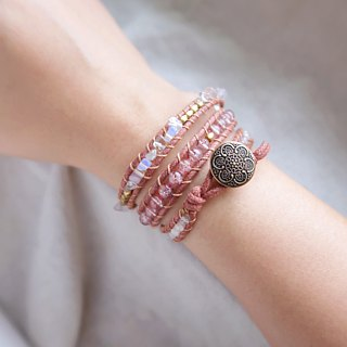 Natural stone woven bracelet - pink / three ring strawberry crystal opal
