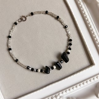 [Spot] black and white clearing spar • • • tubular bead bracelet bracelet • gift