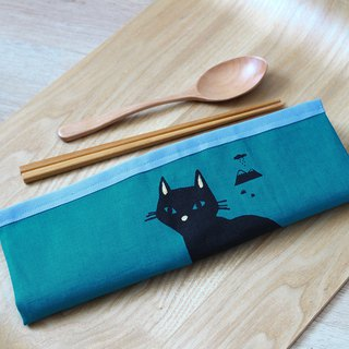 All-in-one cutlery set GoodafternoonworkXPearlCatCat hand-printed black cat