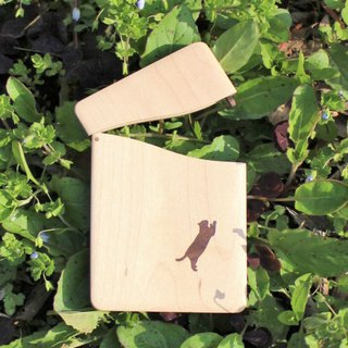 "Cat Items,business card holder,""cat no.3"" Slim name-card cafe, Maple and Walnut"