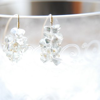 Green amethyst marquis hook earrings 14 kgf