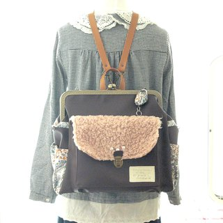 3 WAY Right zipper with BIG rucksack full set Milk tea fur & brown