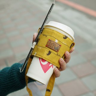 Double insulated natural beverage bag - stroll in the first line - mustard yellow