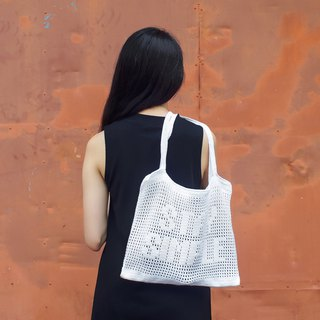 "Crochet Quote Tote Bag | ""Stay Simple"" in Cool White"