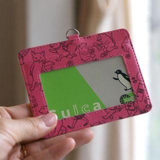 Pass case cat cat full of frog (pink)