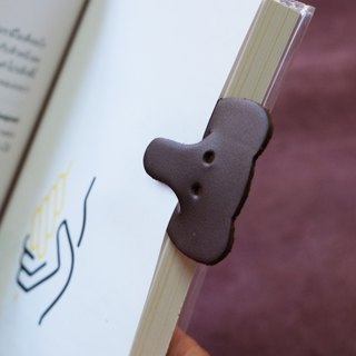 Leather Bookmark / Animal Bookmark / Gift for Book Lovers - Elephant Dark brown