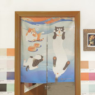 "Cat scream Japanese curtain ""Screaming Cat"" Door Curtain original design"