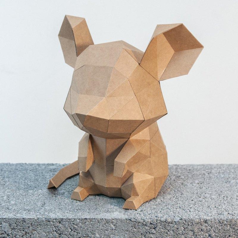 問創設計DIY手作3D紙模型 禮物 擺飾小動物系列 -機靈大耳鼠