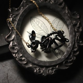 Black Rabbit Skeleton Necklace by Defy / Cool Statement Jewelry Accessories / Bunny Charm Pendant
