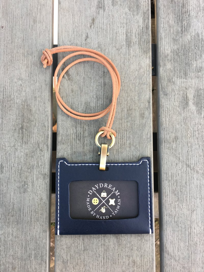 Pure hand-made / vegetable-tagged identification card holder / horizontal / navy