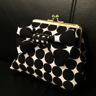 one-of-a-kind kisslock pouch cardcase coincase black&white camouflage ribbon