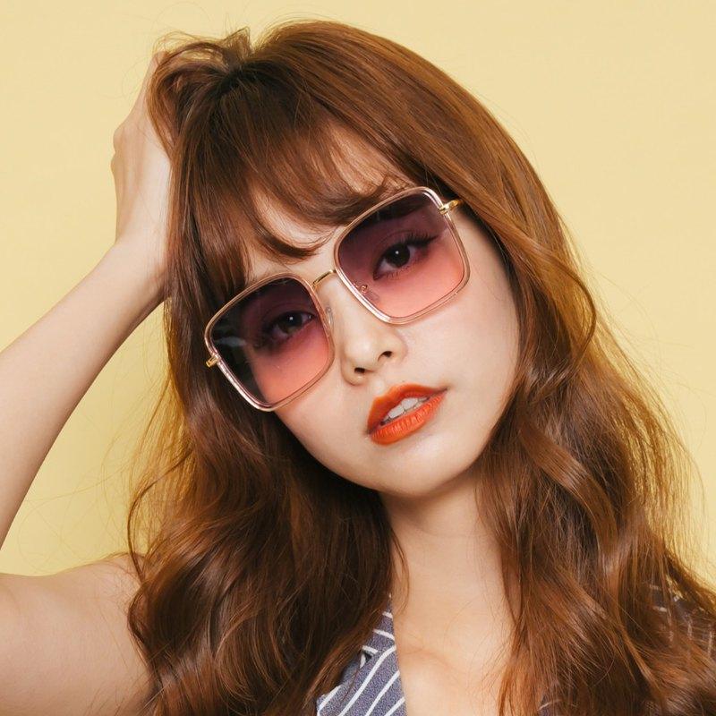 港灣的金森粉磚│歐美浪漫櫻花粉色海水漸層墨鏡│UV400太陽眼鏡