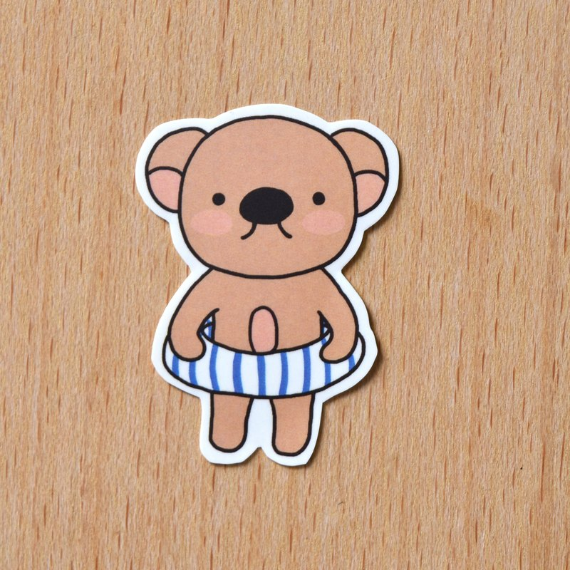 Swimsuit big nose bear / single sticker