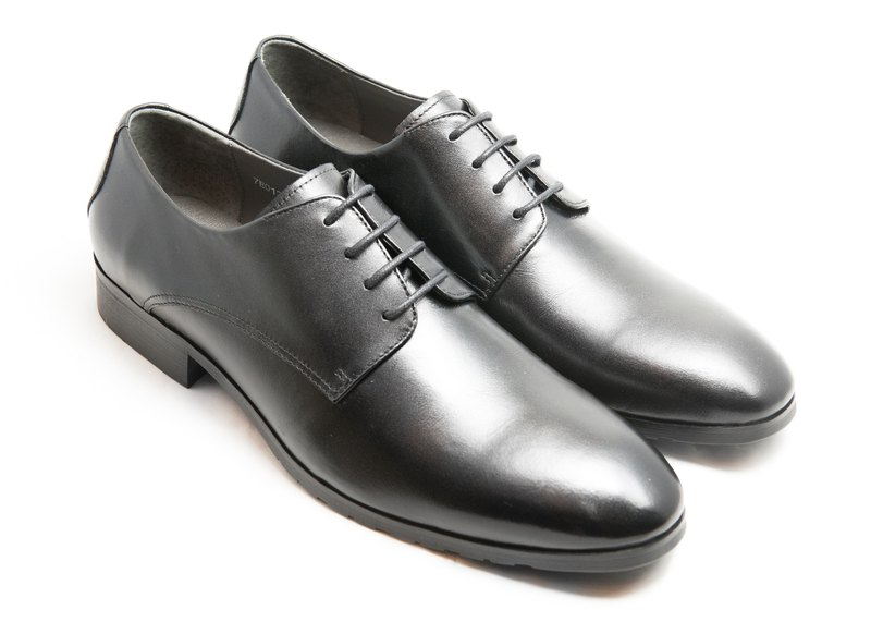 Hand-colored calfskin leather and plain Derby shoes - Black - Free Shipping - E1A11-99