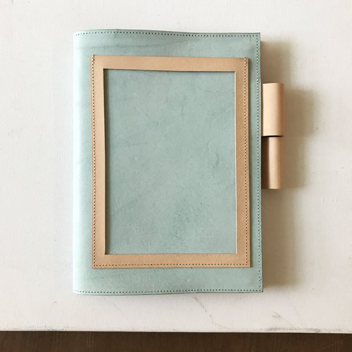 Leather book cover _ MUJI B6 size _ postcard version _ waxy mint green with raw leather