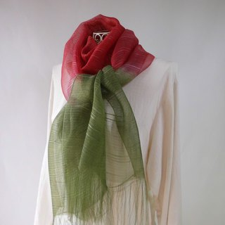 Plant dyeing · silk organza · long stall · color matching _ 5 · red fruit