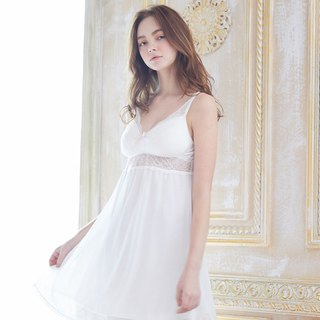 No steel ring pajamas [exclusive 2in1] wedding bride lace cut chiffon dress - white
