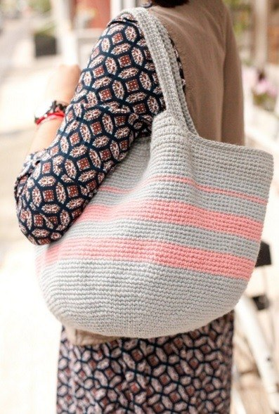 [Good day] handmade pink striped twine woven bag