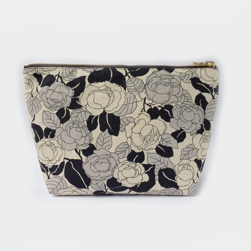 纯棉化妆包/杂物包 Canvas Large Zipper Pouch Clutch - monochrome rose