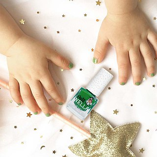 British [Miss Nella] Children's Water-based Safety Nail Polish - Sequined Frog Green (MN16)