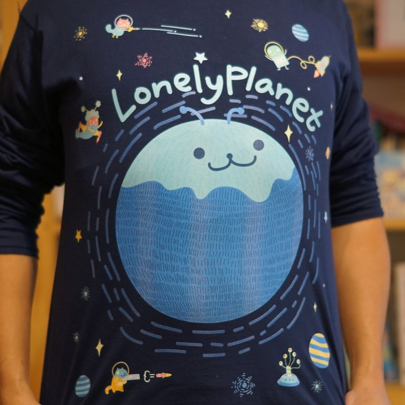 [Lonely Planet] cotton long-sleeved T-shirt - space travel - dark blue