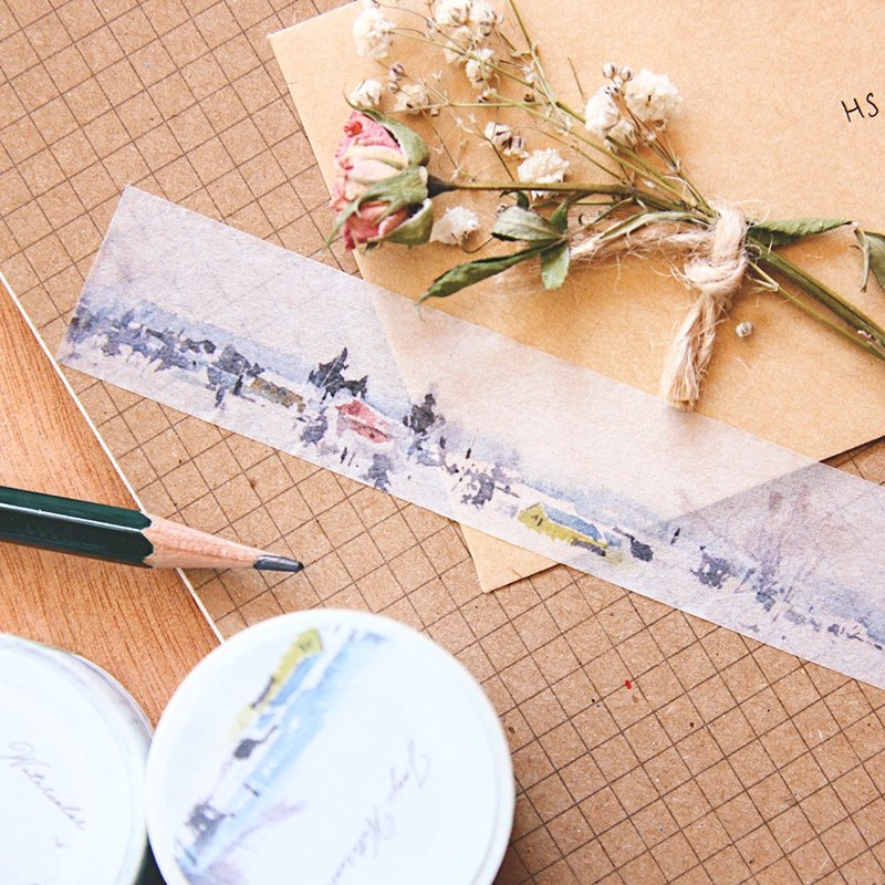 ☁ ☁ chirp Kyrgyzstan watercolor painted paper tape - snow beach