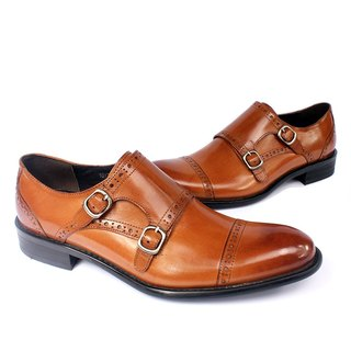 Sixlips cross trim double buckle monk shoes brown