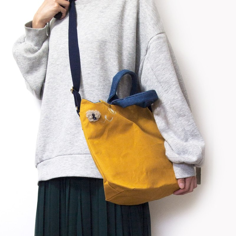 Casual clothing canvas cat shoulder bag color (custom made)