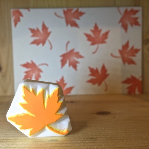 Handmade stamp with postcard(leaf C)