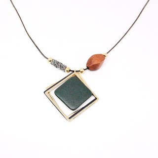 Dream Frame │ Morandi Geometric Square Multi-Layer Necklace