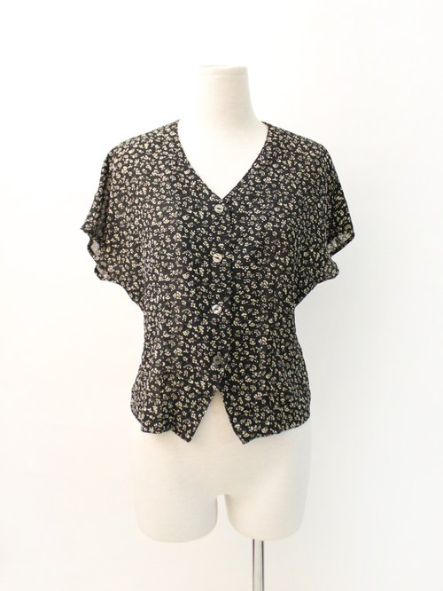 Vintage French Sweet Big V-neck Floral Black Short Sleeve Vintage Shirt Vintage Blouse