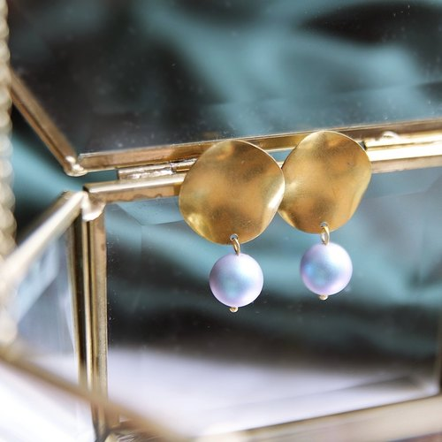 Fuji Peak and the sky frosted blue Swarovski big ball goldwork pure brass big earrings autumn products