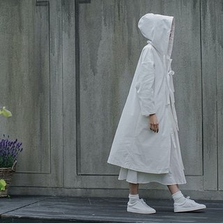 White minimalist wind knotted cloak white windbreaker long witch hooded jacket Cobogen's mark