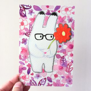Bunny Rabbit hand painted original illustration illustrator card postcard
