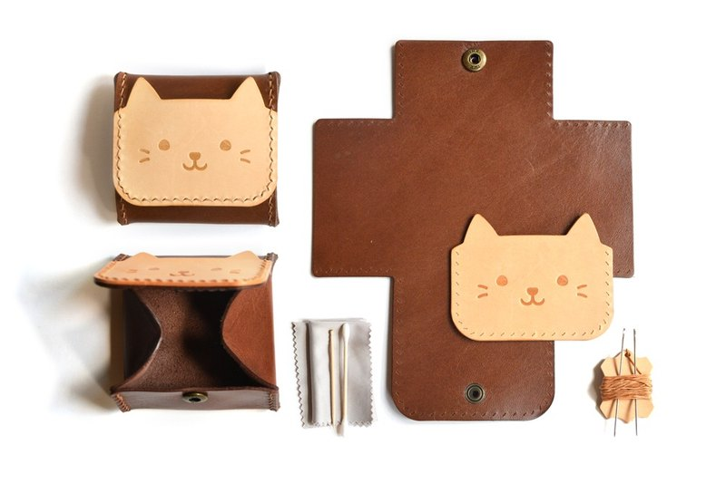 Fading Mist Leather DIY Kit - Kitten Coin Bag
