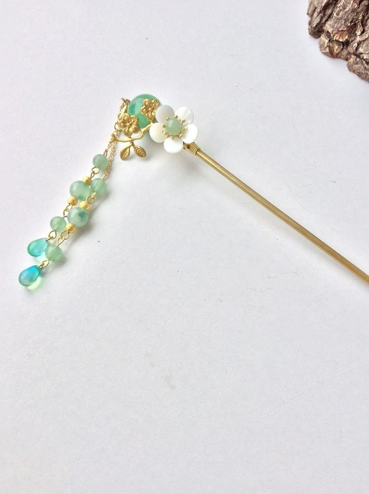 Meow wrist hair ~ green hair beads hairpin hairpin