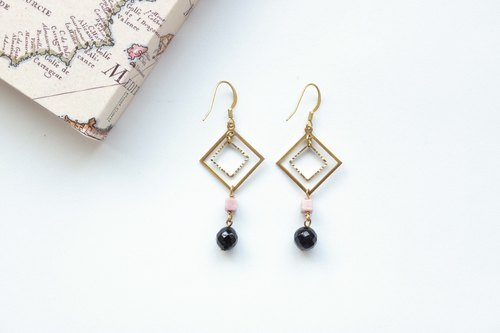 Brass Earrings | Faceted Black Onyx | Rose Rock Ear Pins / Ear Clips
