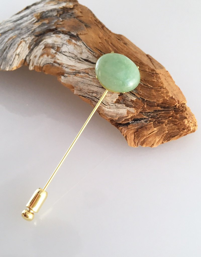 Burmese natural jade brooch hat pin