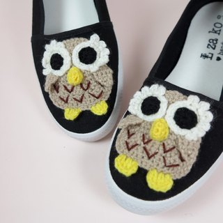 Black cotton canvas hand-made shoes forest owl models non-woven models