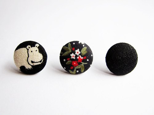 Earrings Mix & Match cloth buckle black mash do Clip Earrings