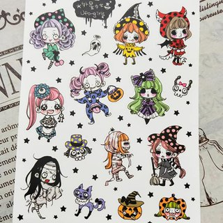 Girl Halloween Pearlescent film Cut-out sticker