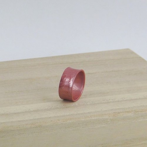 "【Japanese traditional technique】 Scarlet copper ""Lamp ~ AKARI ~"" Ring # 15"