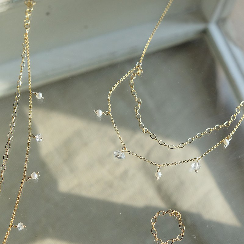 Stardust Series-Double Chain White Crystal Necklace