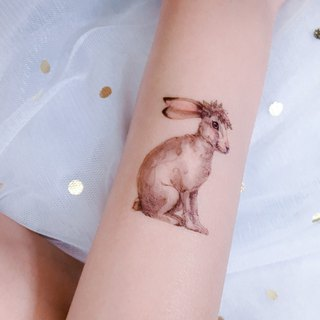 Lovely Flower Bunny Rabbit Temporary Tattoo Stickers Floral Cute Pink Pastel Art