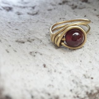 ◎ red garnet ring winding brass ring
