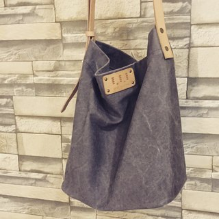 Washed canvas drum bag / Street Bucket Bag / canvas / cowhide / limited gray