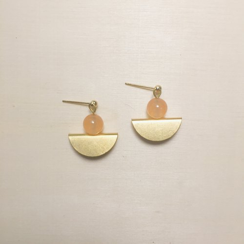 Pink orange jade three-dimensional fan earrings