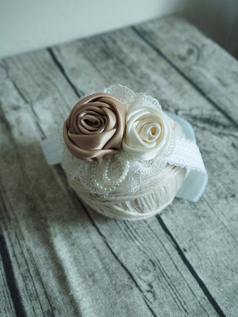 Handmade Ribbon rose baby/ kid elastic headband