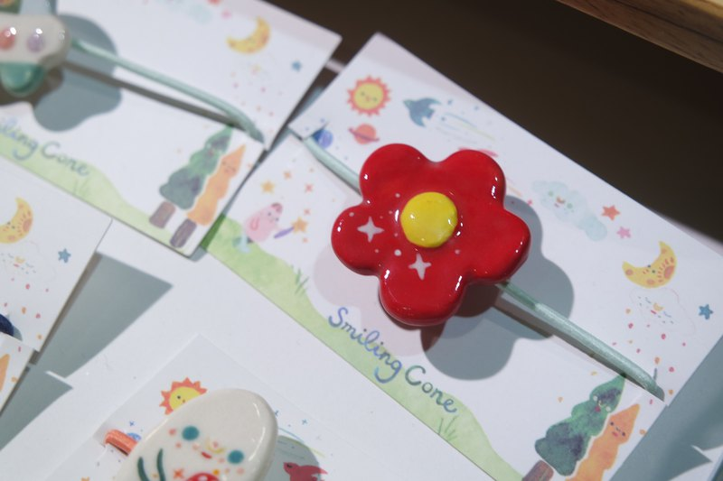 Ceramic Red Flower Hair Rubber Band